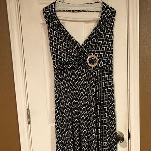 Black and white maxi halter dress.